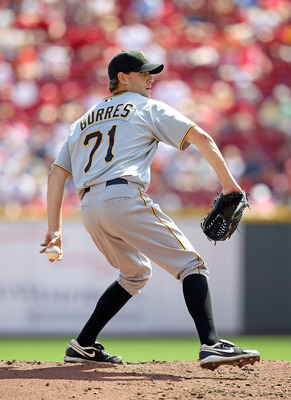 CINCINNATI - SEPTEMBER 12:  Brian Burres #71 of the Pittsburgh Pirates throws a pitch during the game against the Cincinnati Reds at Great American Ballpark on September 12, 2010 in Cincinnati, Ohio.  (Photo by Andy Lyons/Getty Images)