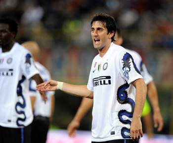 BOLOGNA, ITALY - AUGUST 30:  Diego Milito of FC Internazionale looks on during the Serie A match between Bologna and Inter at Stadio Renato Dall'Ara on August 30, 2010 in Bologna, Italy.  (Photo by Claudio Villa/Getty Images)