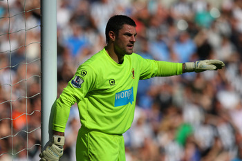 NEWCASTLE UPON TYNE, ENGLAND - SEPTEMBER 11:  Blackpool goalkeeper Matthew Gilks in action during the Barclays Premier League match between Newcastle United and Blackpool at St James' Park on September 11, 2010 in Newcastle upon Tyne, England.  (Photo by
