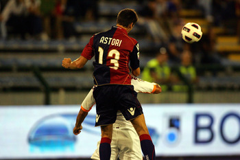 CAGLIARI, ITALY - SEPTEMBER 11: Davide Astori of Cagliari during the Serie A match between Cagliari and Roma at Stadio Sant'Elia on September 11, 2010 in Cagliari, Italy.  (Photo by Enrico Locci/Getty Images)