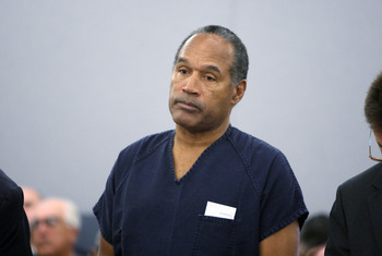 LAS VEGAS - DECEMBER 5:  OJ Simpson stands during sentencing at the Clark County Regional Justice Center December 5, 2008 in Las Vegas, Nevada.  Simpson and co-defendant Clarence 'C.J.' Stewart were sentenced on 12 charges, including felony kidnapping, ar