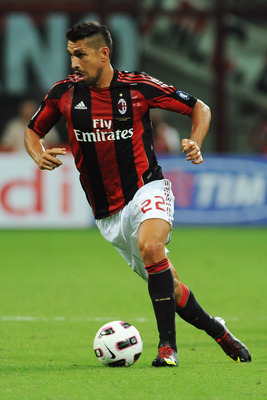 MILAN, ITALY - AUGUST 29:  Marco Borriello of AC Milan in action during the Serie A match between AC Milan and US Lecce at Stadio Giuseppe Meazza on August 29, 2010 in Milan, Italy.  (Photo by Valerio Pennicino/Getty Images)