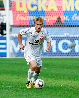 MOSCOW - SEPTEMBER 12: (EMBARGOED FOR PUBLICATION IN ALL JAPANESE MEDIA UNTIL 48 HOURS AFTER CREATE DATE AND TIME) Keisuke Honda of PFC CSKA Moscow in action during the Russian Football League Championship match between FC Lokomotiv Moscow and PFC CSKA Mo