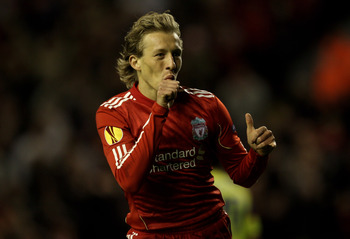 LIVERPOOL, ENGLAND - SEPTEMBER 16 : Lucas of Liverpool celebrates scoring his team's third goal during the UEFA Europa League Group K match beteween Liverpool and Steaua Bucharest at Anfield on September 16, 2010 in Liverpool, England.  (Photo by Alex Liv