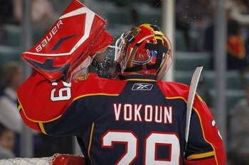 SUNRISE, FL - APRIL 6: Goaltender Tomas Vokoun #29 of the Florida Panthers gets a drink of water during a break in action against the Ottawa Senators on April 6, 2010 at the BankAtlantic Center in Sunrise, Florida. The Senators defeated the Panthers 5-2.