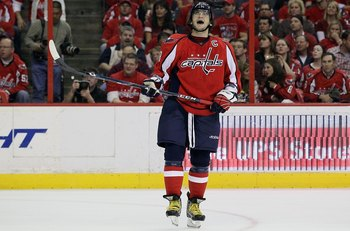 WASHINGTON DC, DC - APRIL 23:  Alex Ovechkin #8 of the Washington Capitals reacts after missing a scoring chance in the third period against the Montreal Canadiens in Game Five of the Eastern Conference Quarterfinals during the 2010 NHL Stanley Cup Playof