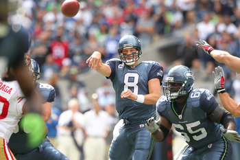 SEATTLE - SEPTEMBER 12:  Quarterback Matt Hasselbeck #8 of the Seattle Seahawks passes during the NFL season opener against the San Francisco 49ers at Qwest Field on September 12, 2010 in Seattle, Washington. (Photo by Otto Greule Jr/Getty Images)
