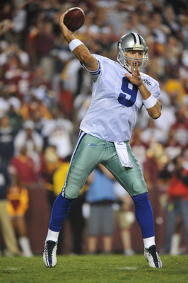 LANDOVER - SEPTEMBER 12:  Tony Romo #9 of the Dallas Cowboys passes during the NFL season opener against the Washington Redskins at FedExField on September 12, 2010 in Landover, Maryland. The Redskins defeated the Cowboys 13-7. (Photo by Larry French/Gett