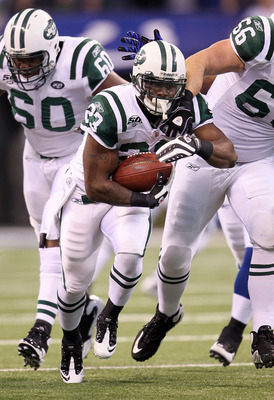 INDIANAPOLIS - JANUARY 24:  Running back Shonn Greene #23 of the New York Jets runs the ball in the first quarter against the Indianapolis Colts during the AFC Championship Game at Lucas Oil Stadium on January 24, 2010 in Indianapolis, Indiana.  (Photo by