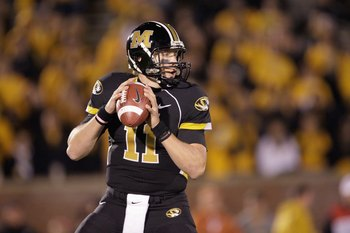 COLUMBIA, MO - OCTOBER 24:  Quarterback Blaine Gabbert #11 of the Missouri Tigers looks to pass the ball during the game against the Texas Longhorns on October 24, 2009 at Faurot Field/Memorial Stadium in Columbia, Missouri. (Photo by Jamie Squire/Getty I