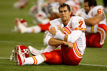 MINNEAPOLIS, MN - AUGUST 21: Quarterback Matt Cassell #7 of the Kansas City Chiefs stretches against the Minnesota Vikings at Hubert H. Humphrey Metrodome on August 21, 2009 in Minneapolis, Minnesota. The Vikings defeated the Chiefs 17-13. (Photo by Scott