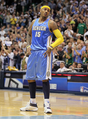 SALT LAKE CITY - APRIL 25:  Carmelo Anthony #15 of the Denver Nuggets is pictured following the game against the Utah Jazz during Game Four of the Western Conference Quarterfinals of the 2010 NBA Playoffs at EnergySolutions Arena on April 25, 2010 in Salt