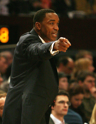 NEW YORK - JANUARY 09:  Coach Isiah Thomas of the New York Knicks gestures from the sideline against the Houston Rockets on January 9, 2008 at Madison Square Garden in New York City. NOTE TO USER: User expressly acknowledges and agrees that, by downloadin