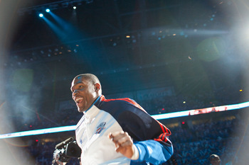 OKLAHOMA CITY - APRIL 30: Kevin Durant #35 of the Oklahoma City Thunder is introduced prior to playing against the Los Angeles Lakers during Game Six of the Western Conference Quarterfinals of the 2010 NBA Playoffs on April 30, 2010 at the Ford Center in