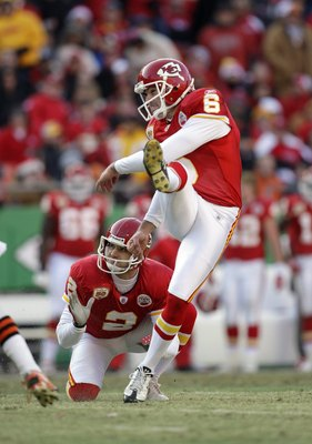 KANSAS CITY, MO - DECEMBER 20:  Ryan Succop #6 of the Kansas City Chiefs attempts a field goal during their NFL game against the Cleveland Browns on December 20, 2009 at Arrowhead Stadium in Kansas City, Missouri. The Browns defeated the Chiefs 41-34. (Ph
