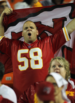KANSAS CITY, MO - SEPTEMBER 13:  A Kansas City Chiefs fan cheers during the game against the San Diego Chargers on September 13, 2010 at Arrowhead Stadium in Kansas City, Missouri.  (Photo by Jamie Squire/Getty Images)