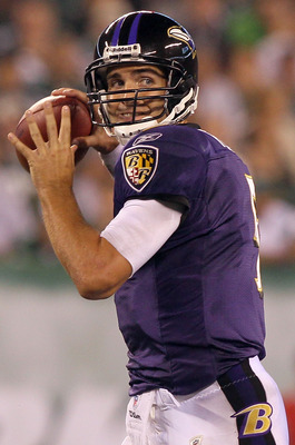 EAST RUTHERFORD, NJ - SEPTEMBER 13:  Joe Flacco #5 of the Baltimore Ravens throws a pass against the New York Jets during the home opener at the New Meadowlands Stadium on September 13, 2010 in East Rutherford, New Jersey.  (Photo by Jim McIsaac/Getty Ima