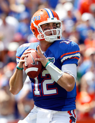 GAINESVILLE, FL - SEPTEMBER 11:  Quarterback John Brantley #12 of the Florida Gators attempts a pass during a game against the South Florida Bulls at Ben Hill Griffin Stadium on September 11, 2010 in Gainesville, Florida.  (Photo by Sam Greenwood/Getty Im