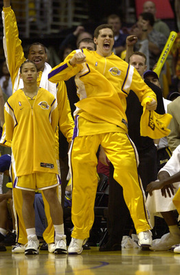 8 Jun 2001:  Mark Madsen #35 of the Los Angeles Lakers celebrates in game two of the NBA Finals against the Philadelphia 76ers at Staples Center in Los Angeles, California.  The Lakers won 98-89.  DIGITAL IMAGE.  Mandatory Credit: Otto Greule/Allsport.