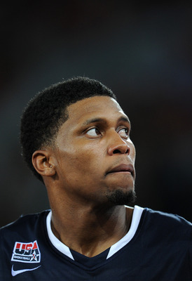 MADRID, SPAIN - AUGUST 22:  Rudy Gay of the USA watches on during a friendly basketball game between Spain and the USA at La Caja Magica on August 22, 2010 in Madrid, Spain.  (Photo by Jasper Juinen/Getty Images)