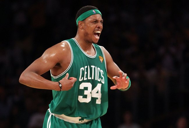 LOS ANGELES, CA - JUNE 17:  Paul Pierce #34 of the Boston Celtics reacts with taking on the Los Angeles Lakers in Game Seven of the 2010 NBA Finals at Staples Center on June 17, 2010 in Los Angeles, California.  NOTE TO USER: User expressly acknowledges a