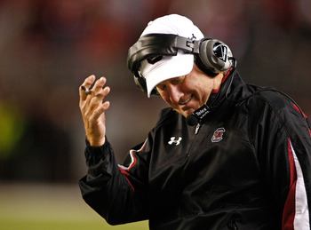 TUSCALOOSA - OCTOBER 17:  Head coach Steve Spurrier of the South Carolina Gamecocks reacts to a call during the game against the Alabama Crimson Tide at Bryant-Denny Stadium on October 17, 2009 in Tuscaloosa, Alabama. The Crimson Tide beat the Gamecocks 2