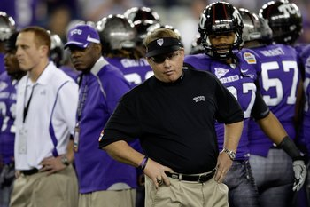 GLENDALE, AZ - JANUARY 04:  Head coach Gary Patterson of the TCU Horned Frogs looks on against the Boise State Broncos during the Tostitos Fiesta Bowl at the Universtity of Phoenix Stadium on January 4, 2010 in Glendale, Arizona.  (Photo by Jamie Squire/G