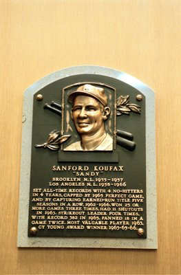 24 Jul 2000:  A general view of the plaque dedicated to Sanford 'Sandy' Koufax at the Baseball Hall of Fame in Cooperstown, New York.Mandatory Credit: Ezra O. Shaw  /Allsport