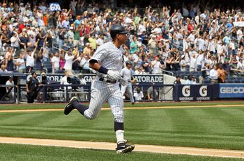NEW YORK - AUGUST 04:  Alex Rodriguez #13 of the New York Yankees runs the bases after hitting his 600th career home run in the first inning against the Toronto Blue Jays on August 4, 2010 at Yankee Stadium in the Bronx borough of New York City.  (Photo b