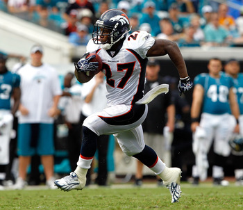 JACKSONVILLE, FL - SEPTEMBER 12:  Knowshon Moreno #27 of the Denver Broncos runs for yardage during the NFL season opener game against the Jacksonville Jaguars at EverBank Field on September 12, 2010 in Jacksonville, Florida.  (Photo by Sam Greenwood/Gett