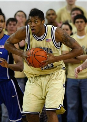 ATLANTA - JANUARY 09:  Derrick Favors #14 of the Georgia Tech Yellow Jackets against the Duke Blue Devils at Alexander Memorial Coliseum on January 9, 2010 in Atlanta, Georgia.  (Photo by Kevin C. Cox/Getty Images)