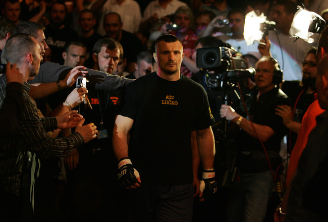 MANCHESTER, UNITED KINGDOM - APRIL 21: A pensive Mirko Cro Cop of Croatia walks to the octagon before fighting Gabriel Gonzaga of USA in a Heavyweight bout of the Ultimate Fighting Championship at the Manchester Evening News Arena on April 21, 2007 in Man