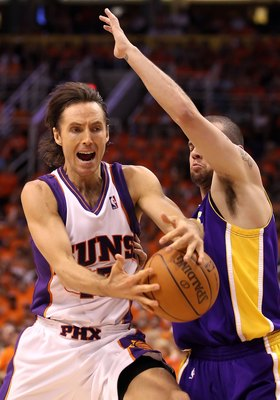 PHOENIX - MAY 29:  Steve Nash #13 of the Phoenix Suns in action during Game Six of the Western Conference finals of the 2010 NBA Playoffs against the Los Angeles Lakers at US Airways Center on May 29, 2010 in Phoenix, Arizona. The Lakers defeated the Suns