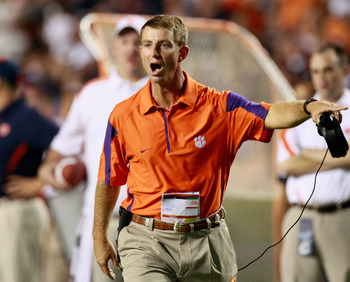 AUBURN, AL - SEPTEMBER 18:  Head coach Dabo Swinney of the Clemson Tigers questions a call during the game against the Auburn Tigers at Jordan-Hare Stadium on September 18, 2010 in Auburn, Alabama.  (Photo by Kevin C. Cox/Getty Images)