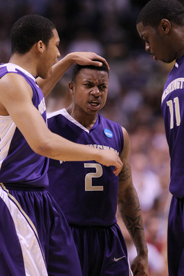 SAN JOSE, CA - MARCH 20:  Guard Isaiah Thomas #2 of the Washington Huskies celebrates with Matthew Bryan-Amaning #11 and Abdul Gaddy #10 after a three point basket to give the Huskies a 10 point lead against the New Mexico Lobos in the second round of the