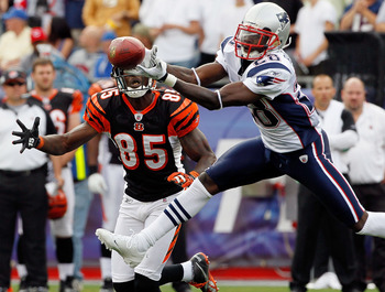 FOXBORO, MA - SEPTEMBER 12:  Darius Butler #28 of the New England Patriots breaks up a pass intended for Chad Ochocinco #85 of the Cincinnati Bengals during the NFL season opener  at Gillette Stadium on September 12, 2010 in Foxboro, Massachusetts. (Jim R