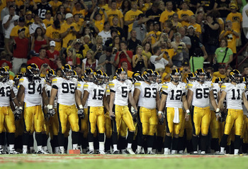 TUCSON, AZ - SEPTEMBER 18:  The Iowa Hawkeyes line up before the college football game against the Arizona Wildcats at Arizona Stadium on September 18, 2010 in Tucson, Arizona. The Wildcats defeated the Hawkeyes 34-27. (Photo by Christian Petersen/Getty I