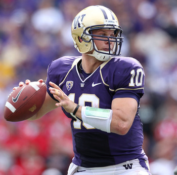 SEATTLE - SEPTEMBER 18:  Quarterback Jake Locker #10 of the Washington Huskies passes against the Nebraska Cornhuskers on September 18, 2010 at Husky Stadium in Seattle, Washington. The Cornhuskers defeated the Huskies 56-21. (Photo by Otto Greule Jr/Gett