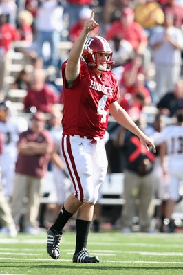 BLOOMINGTON, IN - NOVEMBER 01:  Quarterback Ben Chappell #4 of the Indiana Hooisers celebrates on the field during the game against the Central Michigan Chippewas at Memorial Stadium on November 1, 2008 in Bloomington, Indiana.  (Photo by Andy Lyons/Getty