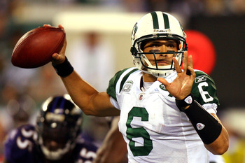 EAST RUTHERFORD, NJ - SEPTEMBER 13:  Mark Sanchez #6 of the New York Jets throws a pass against the Baltimore Ravens during their home opener at the New Meadowlands Stadium on September 13, 2010 in East Rutherford, New Jersey.  (Photo by Andrew Burton/Get