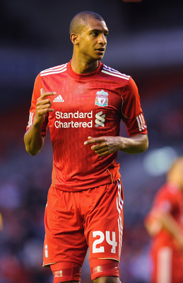 LIVERPOOL, ENGLAND - AUGUST 05:  David Ngog of Liverpool in action during the Europa League, Third Qualifying Round, Second Leg match between Liverpool and FK Rabotnicki at Anfield on August 5, 2010 in Liverpool, England.  (Photo by Clive Mason/Getty Imag