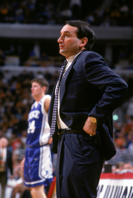 CHICAGO - DECEMBER 3:  Head coach Mike Krzyzewski of the Duke University Blue Devils watches the action from the sidelines during a NCAA game against the University of Illinois Fighting Illini at the United Center on December 3, 1994 in Chicago Illinois.