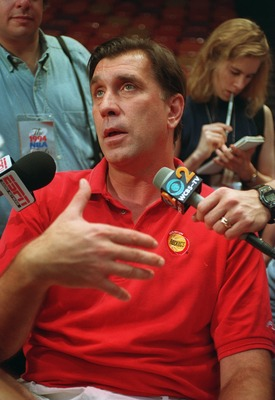 21 Jun 1994: HOUSTON ROCKET HEAD COACH RUDY TOMJANOVICH RESPONDS TO A QUESTION FROM THE MEDIA FOLLOWING THE ROCKET''S PRACTICE ONE DAY PRIOR TO GAME SEVEN OF THE NBA CHAMPIONSHIPS AGAINST THE NEW YORK KNICKS.