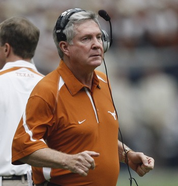 HOUSTON - SEPTEMBER 04:  Head coach Mack Brown of the Texas Longhorns looks on from the sidelines during the season opener against the Rice Owls at Reliant Stadium on September 4, 2010 in Houston, Texas.  (Photo by Bob Levey/Getty Images)