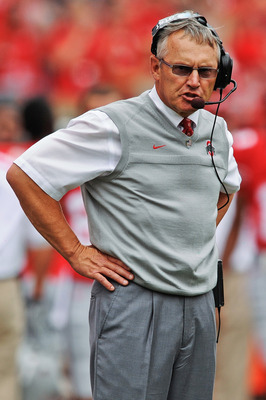 COLUMBUS, OH - SEPTEMBER 11:  Head Coach Jim Tressel of the Ohio State Buckeyes watches his team play against the Miami Hurricanes at Ohio Stadium on September 11, 2010 in Columbus, Ohio.  (Photo by Jamie Sabau/Getty Images)