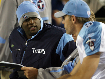 JACKSONVILLE, FL - NOVEMBER 16: Quarterbacks Kerry Collins #5 and Vince Young #10 of the Tennessee Titans talk on the sidelines in the second half while taking on the Jacksonville Jaguars at Jacksonville Municipal Stadium on November 16, 2008 in Jacksonvi