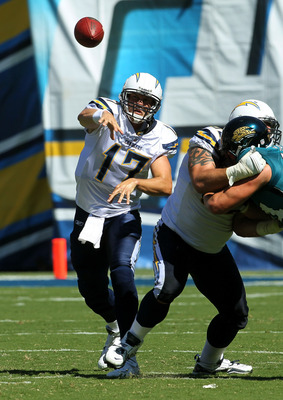 SAN DIEGO - SEPTEMBER 19: Quarterback Philip Rivers #17 of the San Diego Chargers throws a pass against the Jacksonville Jaguars at Qualcomm Stadium on September 19, 2010 in San Diego, California. (Photo by Stephen Dunn/Getty Images)