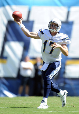 SAN DIEGO - SEPTEMBER 19:  Philip Rivers #17 of the San Diego Chargers passes against the Jacksonville Jaguars during the second quarter at Qualcomm Stadium on September 19, 2010 in San Diego, California.  (Photo by Harry How/Getty Images)