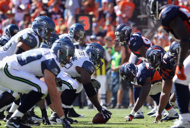 DENVER - SEPTEMBER 19:  A general view of the line of scrimmage as the Seattle Seahawks offense takes on the Denver Broncos defense at INVESCO Field at Mile High on September 19, 2010 in Denver, Colorado. The Broncos defeated the Seahawks 31-14.  (Photo b