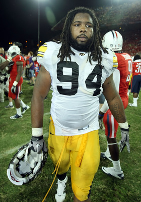 TUCSON, AZ - SEPTEMBER 18:  Defensive end Adrian Clayborn #94 of the Iowa Hawkeyes walks off the field after being defeated by the Arizona Wildcats in the college football game at Arizona Stadium on September 18, 2010 in Tucson, Arizona. The Wildcats defe